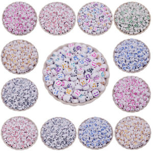 100PCS Emoji Smiley Faces Beads 7mm oval shape multicolor charm Jewellery Making