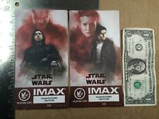 (2) Star Wars Last Jedi Kylo Poe Leia Week 2+3 Regal Collectible IMAX Tickets
