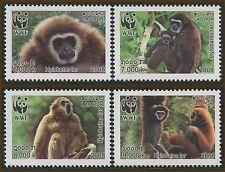 "LAOS N°1682/1685 ** Singes ""Gibbon Lar"", 2008  WWF Gibbons Monkeys set MNH"