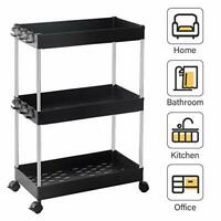 SPACEKEEPER Storage Trolley 3-Tier Slide Out Rolling Utility Cart Storage Shelf