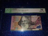 $5 dollars note commemorative 2001 FIRST PREFIX 'AA01' GRADED 'PERFECT UNC 70''