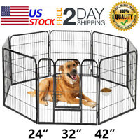 "Pet Playpen 24"" 32"" 40'' 8 Panel Heavy Duty Pet Cat Puppy Exercise Pen Dog Fence"