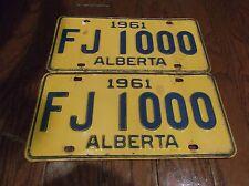 1961 ALBERTA LICENSE PLATES FJ 1000