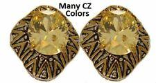 earring yellow swarovski cubic zirconia cz white 18 Kt gold plate omega fine NWT