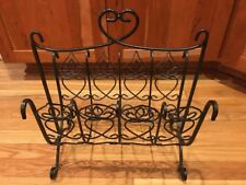"VINTAGE WROUGHT IRON SCROLL MAGAZINE RACK BLACK 9.5"" X 14.5"" X 16.5"" EXCELLENT!"