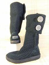 UGG Classic Cardy Knit Girls Black Wool Acrylic Boots - Kids UK 11