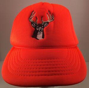 Vintage Fluorescent Blaze Orange Embroidered Deer Foam Lined Snapback Hat Cap
