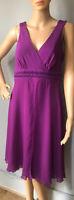Debenhams Empire Line Fit & Flare Party Dress Uk Size 12 P Purple Mauve Exc Cond