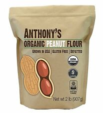 Organic Peanut Flour, De-fatted, 2lbs by Anthonys, Light Roast 12% Fat, Verified