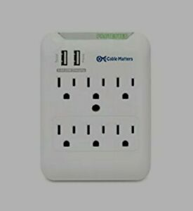 Cable Matters 6Outlet Wall Mount Surge Protector, 2.4A Dual USB Charging station