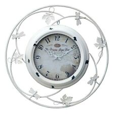 Large White Black Princess Metal Vintage Style Girls Butterfly Leaf Wall Clock