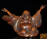 "4""Old China temple Boxwood Wood carved wealth Happy laugh Maitreya Buddha statue"