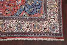 Excellent Floral Red/Blue Sarouk Area Rug Hand-Knotted Wool Carpet 7'x10'
