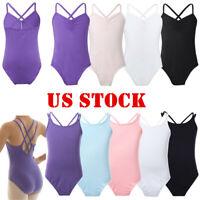 US Girls Gymnastics Ballet Dance Dress Child Leotards Dancewear Bodysuit Costume