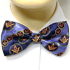 Masonic Bow Tie Neckwear - Pre-tied Blue bow tie Gold Round Pattern