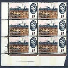 1964 Geographical (Phos) 1/6 No Dot Cylinder Block With Narrow Bands  MNH