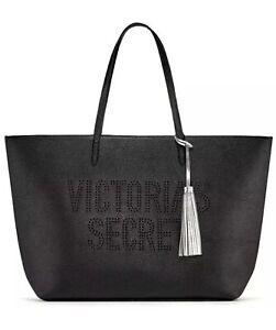 Victorias Secret Black Logo Faux Leather Travel Getaway XL Weekender Tote Bag