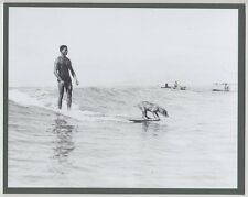 "SURFING DOG 1930's WAIKIKI BEACH ""HANGING TEN"" HAND PRINTED PHOTO ON 8X10"" MAT"