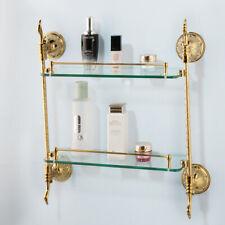 Wall Mount Gold 2 Layer Glass Organizer Shelf Shower Gel Shampoo Storage Holder
