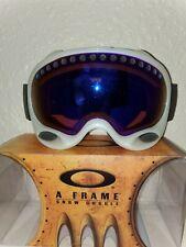 Oakley A Frame Ski Snowboard Goggles White Frame Black Band