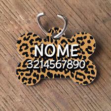 Medaglietta PERSONALIZZATA cane forma di osso NOME telefono leopardata