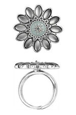 PILGRIM FLASHY FLOWER SILVER PLATED BLUE ADJUSTABLE RING. BNWT- GIFT-WRAPPED