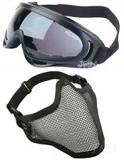 [ USA Only ] Protection Mesh Face Mask + X400 UV Goggles Airsoft Paintball Set