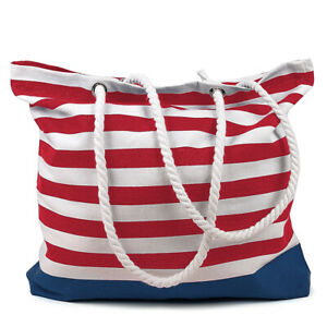 RED STRIPES Beach Bag, Cotton, Made in India, 15.7x17.7 inches Tote