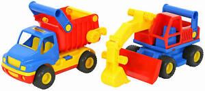 WADER ConsTruck Set 2-tlg. Muldenkipper mit Bagger Baufahrzeuge bunt
