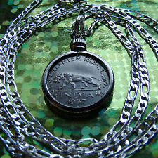 "1947 INDIA=TIGER Quarter Rupee Pendant on an 18"" Silver Link Chain"
