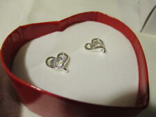 AVON Open Your Heart Earrings Silvertone with Clear Rhinestones in a Pink Heart