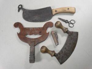 5 antike Haushaltshelfer - Messer Wiegemesser Taschenmesser Abstreifer - 1920