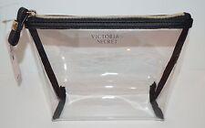 NEW VICTORIA'S SECRET BLACK CLEAR PLASTIC MAKEUP COSMETIC BEAUTY BAG POUCH CASE