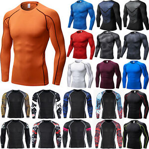 Mens Compression Base Layer Thermal Long Sleeve Strench Fitness Gym Sports Tops