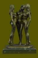 "12"" Western Art Bronze  Base Marble three nude belle Statue Figurine Figure Sale"