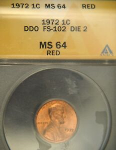 1972/72 LIncoln Cent RED Double Die ANACS MS64 (D0584)