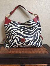 Dooney & Bourke Hobo Bag Zebra Animal Print Shoulder Tote Purse Brown Gold