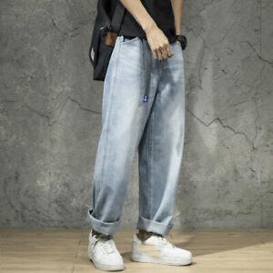 Hommes Jambe Large Jean 80s Vintage Droit Pantalon Décontracté Long Cow-Boy