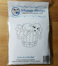 Whimsy Stamps - Crissy Armstrong - Love in a Bucket rubber stamp (dog puppy)