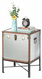Faux Leather Trimmed Lockable Square Lined Storage Trunk, End Table on Metal Sta