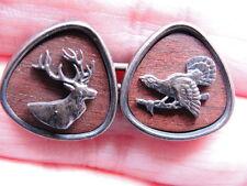 Unusual Estate British Wood & Silver Double-Sided Cufflinks w/ Elk & Game Bird