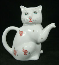Cat Shaped White Porcelain Creamer or Individual Tea Pot 5.5 in Tall