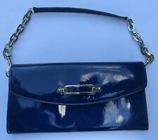 """AUTH JIMMY CHOO Patent Leather Flap Clutch Bag Blue Chain Handle 9""""x5"""""""