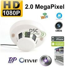 2 MP HD WiFi Smoke Detector Style Hidden IP Camera Onvif 1080p W/Audio, SD Card