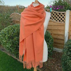 Orange Pashmina Wrap Ladies Warm Cashmere Blend Shawl Large Scarf Wedding