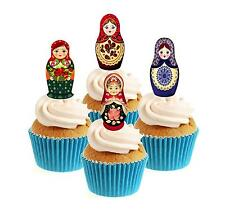 Novedad Muñeca Rusa Mix 12 Comestibles Stand Up Oblea papel Cake Toppers Partido
