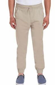 Izod Approved Schoolwear Stretch Jogger Elastic Waist Pants Khaki (Size: XL)