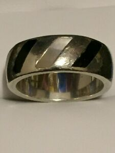 Heavy Solid Silver Birmingham Hallmarked Black Enamel and MOP Band Ring