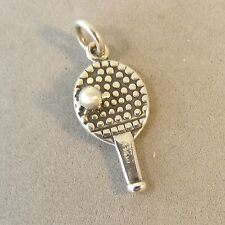 925 Sterling Silver 3-D PING PONG PADDLE CHARM NEW Table Tennis Pendant HB19