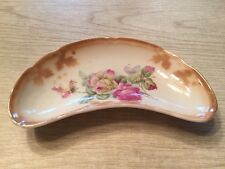 vintage porcelain bone dish red and yellow roses